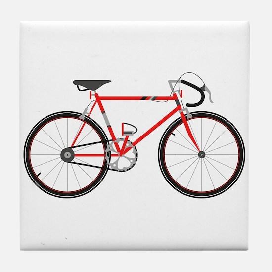 Red Road Bike Tile Coaster