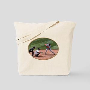 At Bat in Oval Umpire, Catcher & Batter  Tote Bag