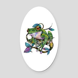 Wild Frog Oval Car Magnet