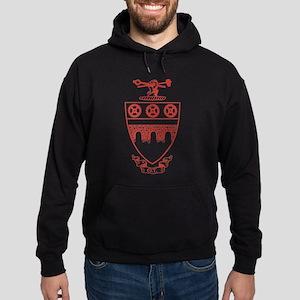 Theta Tau Fraternity Crest in Red Hoodie (dark)