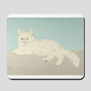 White Cat; Vintage Art Foujita Mousepad