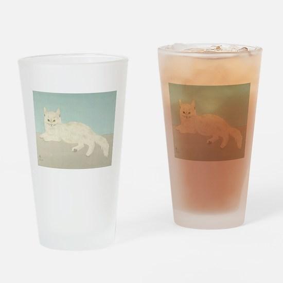 White Cat; Vintage Art Foujita Drinking Glass