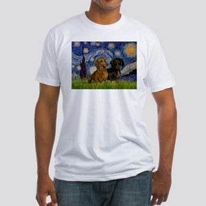 Starry Night & Dachshund Pair Fitted T-Shirt