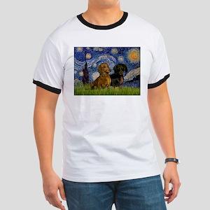 Starry Night & Dachshund Pair Ringer T