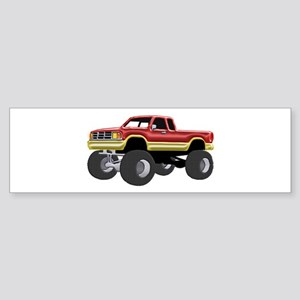 Marvelous Monster Truck Red & Gold Bumper Sticker