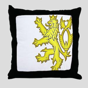 Heraldic Gold Lion Throw Pillow
