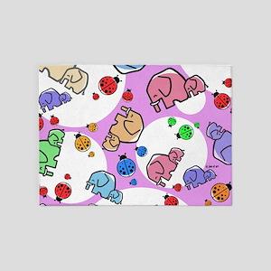 Elephants & Ladybugs 5'x7'Area Rug