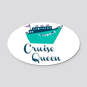 Cruise Queen Oval Car Magnet