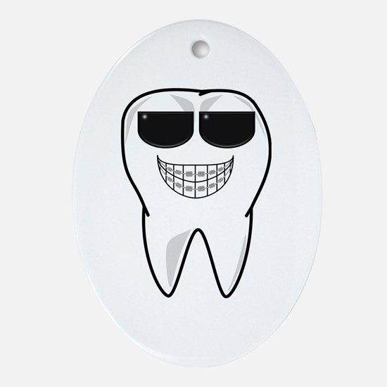 Cool Tooth With Braces Ornament (oval)
