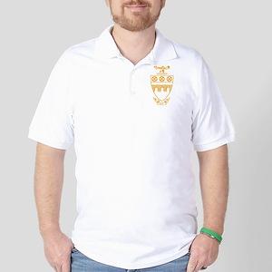 Theta Tau Fraternity Crest in Yellow Golf Shirt
