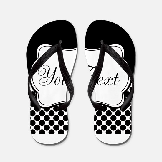 Personalizable Black and White Flip Flops
