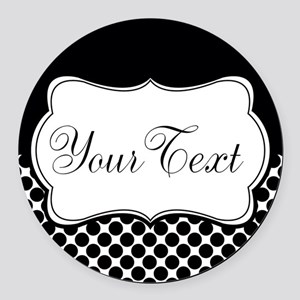 Personalizable Black and White Round Car Magnet