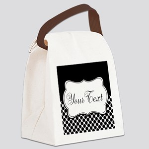 Personalizable Black and White Canvas Lunch Bag