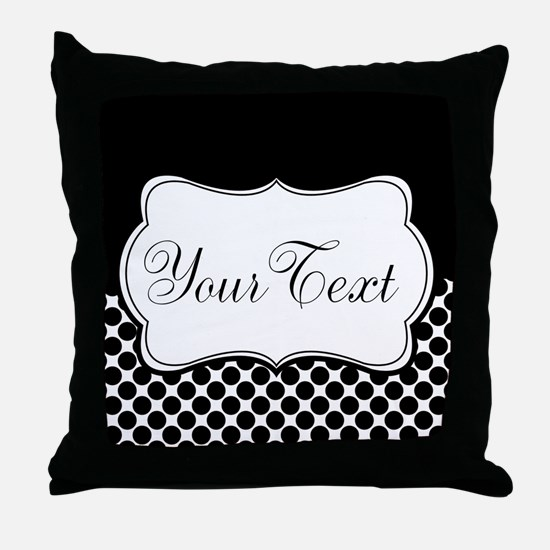 Personalizable Black and White Throw Pillow