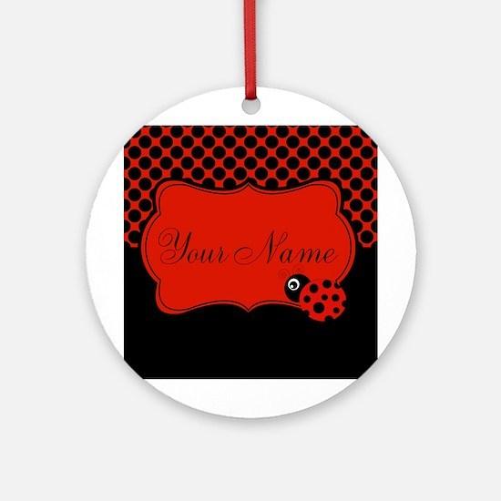Personalizable Ladybug Polk Dots Ornament (Round)