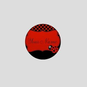 Personalizable Ladybug Polk Dots Mini Button