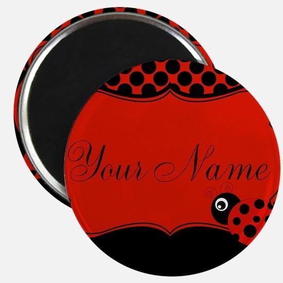 Personalizable Ladybug Polk Dots Magnets