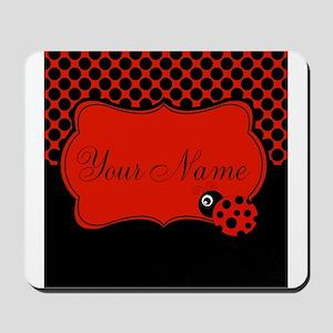 Personalizable Ladybug Polk Dots Mousepad