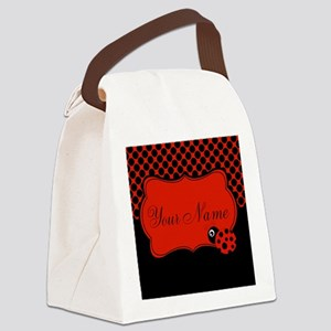 Personalizable Ladybug Polk Dots Canvas Lunch Bag