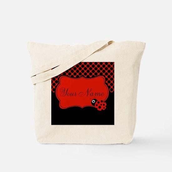 Personalizable Ladybug Polk Dots Tote Bag