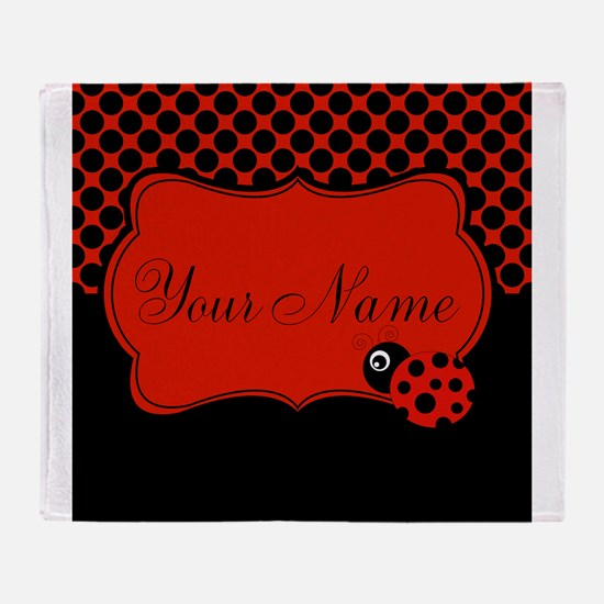 Personalizable Ladybug Polk Dots Throw Blanket