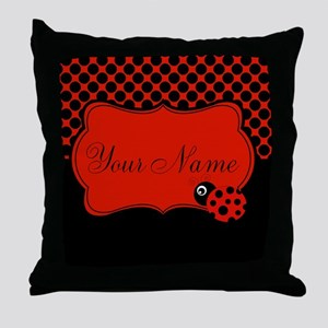 Personalizable Ladybug Polk Dots Throw Pillow