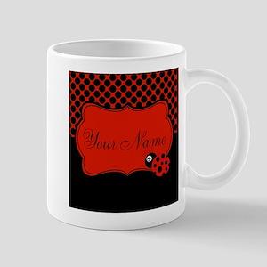 Personalizable Ladybug Polk Dots Mugs