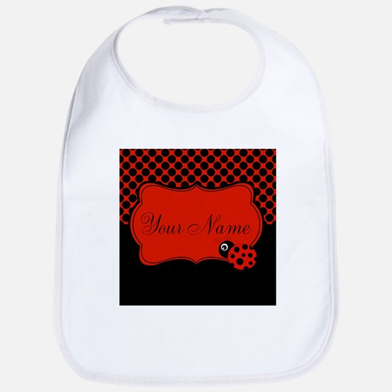Personalizable Ladybug Polk Dots Bib