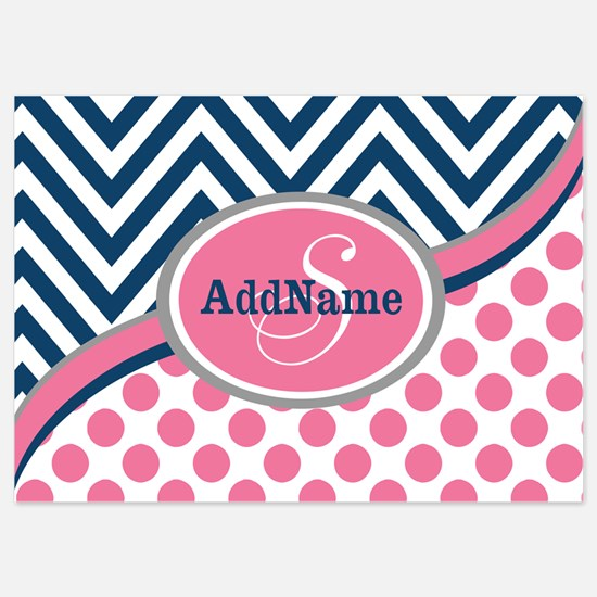 Bold Chevron Dots and Monogram 5x7 Flat Cards