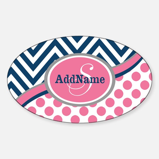 Bold Chevron Dots and Monogram Sticker (Oval)