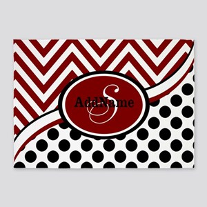 Red and Black Chevron Dots 5'x7'Area Rug