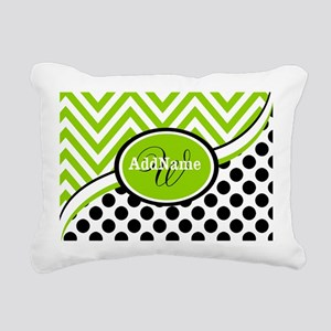 Monogrammed Chevron Polk Rectangular Canvas Pillow