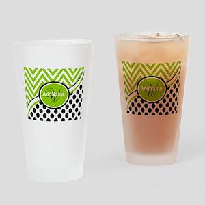 Monogrammed Chevron Polka Dots Drinking Glass