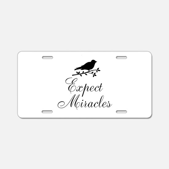 Expect Miracles Black Bird Aluminum License Plate
