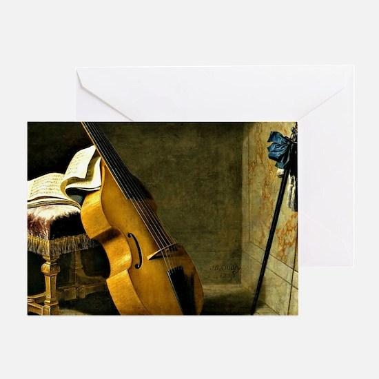Bass Viol, Score Sheet, and a Sword Greeting Card