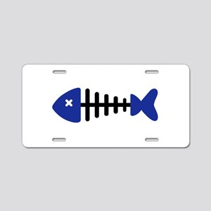 Fishbone Fish Aluminum License Plate
