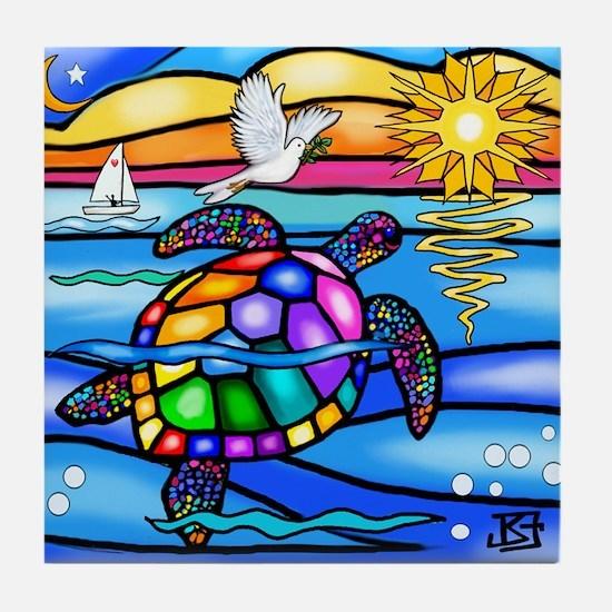 Funny Colorful turtle Tile Coaster
