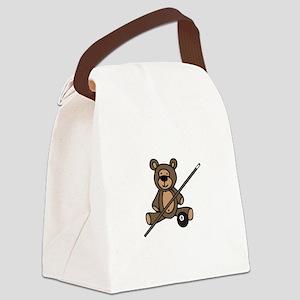 Billiards Teddy Bear Canvas Lunch Bag