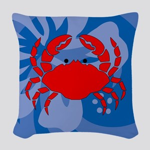 Crab Woven Throw Pillow