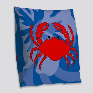 Crab Burlap Throw Pillow