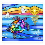 Sea Turtle #8 Square Car Magnet 3