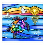Sea Turtle #8 Square Car Magnet 3