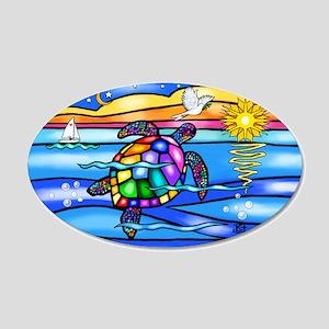Sea Turtle #8 20x12 Oval Wall Decal