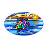 Sea Turtle #8 20x12 Oval Wall Decal