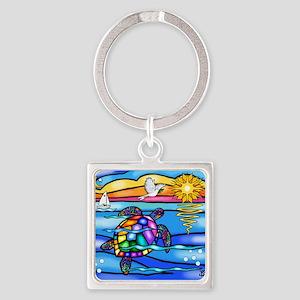 Sea Turtle #8 Square Keychain