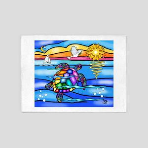 Sea Turtle #8 5'x7'Area Rug