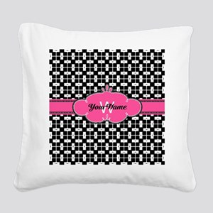 Black Pink Cute Pattern Monog Square Canvas Pillow