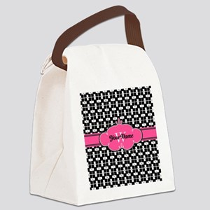 Black Pink Cute Pattern Monogram Canvas Lunch Bag