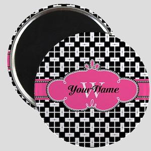 Black Pink Cute Pattern Monogram Magnet