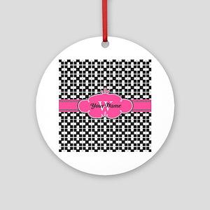 Black Pink Cute Pattern Monogram Ornament (Round)